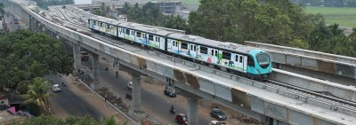 Metro glides into Kochi.