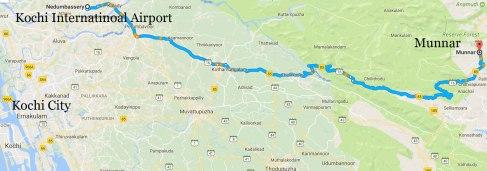 Kochi-Munnar road map